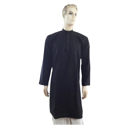 Khadi India Men's Long Sleeve Cotton Kurta (Black)