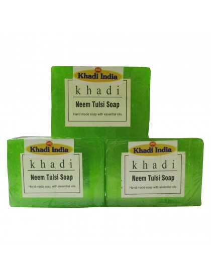 Khadi India Neem Tulsi Soap 125gX3 (Pack of 3)