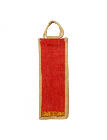Jute Water Bottle Cover - Red