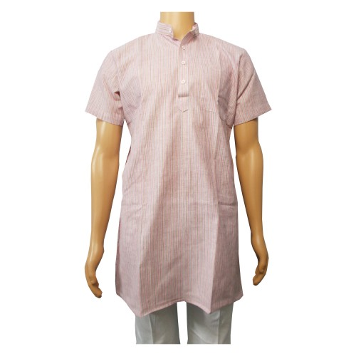 Khadi Cotton Men's Kurta - Multicolour Stripe (Size-36)