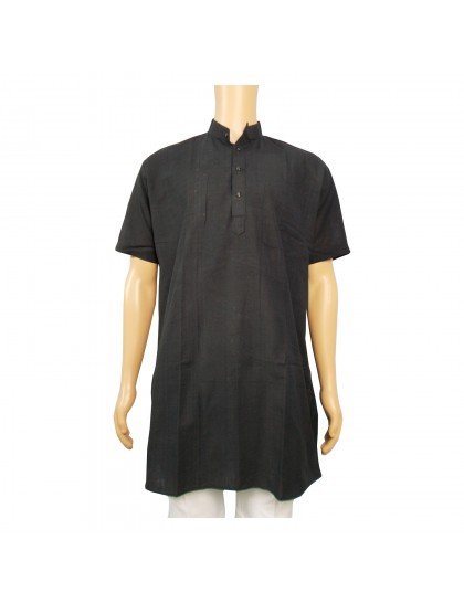 Khadi Cotton Men's Kurta - Black (Size-42)