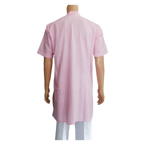 Khadi Cotton Men's Kurta - Pink (Size-40)
