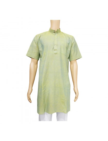 Khadi Cotton Men's Kurta - Light Green (Size-40)