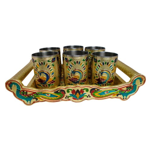 Handcrafted Meenakari Wooden Tray With Stainless Steel Glass Set