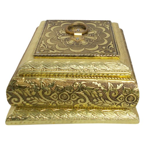 Handcrafted Square Metal Crafted Box - Golden