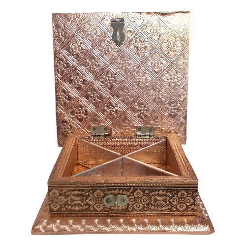 Handcrafted Square Metal Crafted Box - Copper