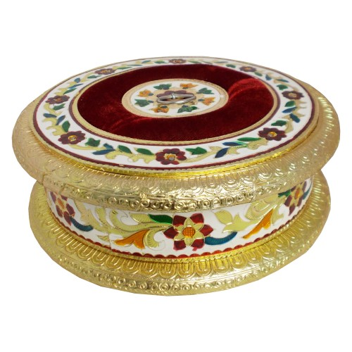 Handcrafted Round Metal Crafted Box - Multicolour