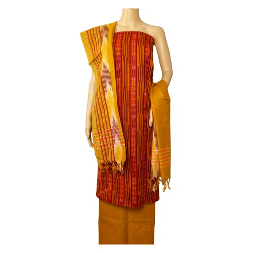 Khadi India Cotton Dress Material - Maroon & Mustard