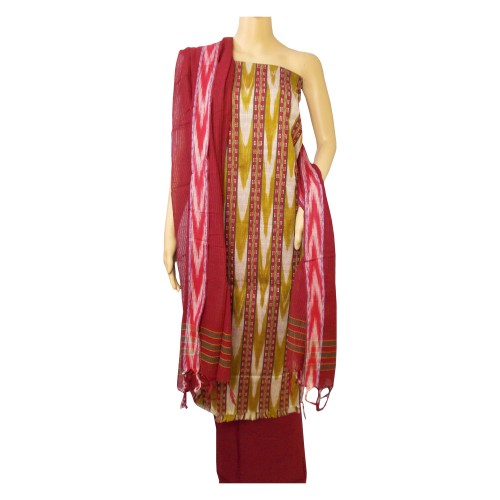 Khadi India Cotton Dress Material - Maroon & Multicolour