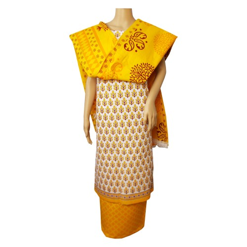 Khadi India Cotton Dress Material - White & Yellow