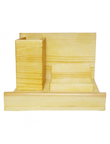 Multi-Functional Wooden Desk Organiser, Pen Stand/Pencil Stand, Stationery Stand for Office & Students (2 Compartments)