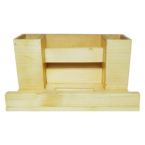 Multi-Functional Wooden Desk Organiser, Pen Stand/Pencil Stand, Stationery Stand for Office & Students (4 Compartments)