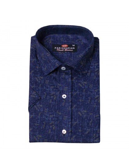 Khadi Cotton Shirt - Blue (Size-XXL)