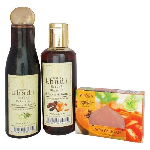 Khadi Herbal Bath Care Kit-(Hair oil,Shampoo,Soap)