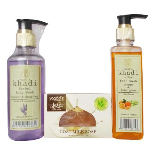 Khadi Herbal Bath Care Kit-(Body wash,Face wash,Soap)