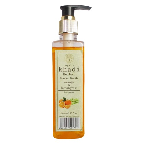 Khadi Herbal Face Wash-Orange & Lemongrass (200ml)