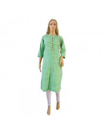 Khadi India Cotton Long Kurti - Aqua Green With Embroidery (Size - M)