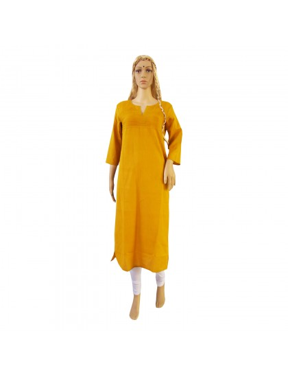 Khadi India Cotton Long Kurti - Mustard Yellow (Size - M)