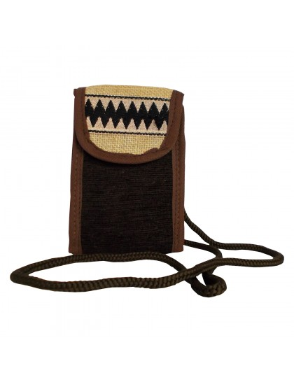 Handmade Woman's Mobile Holder Purse - Brown