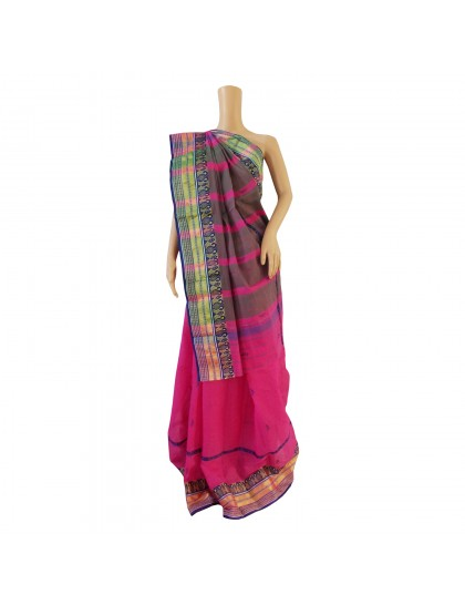 Khadi India Cotton Saree- Pink with Blue  Border