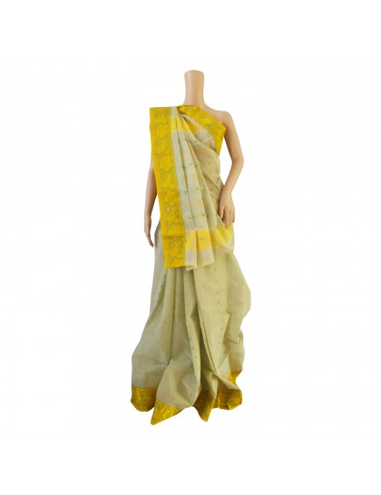 Khadi India Cotton Saree - Light Mehndi With Dark Yellow & Green Border
