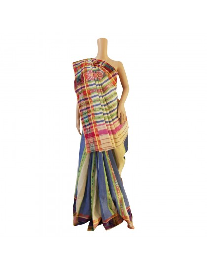 Khadi India Cotton Saree - Multi Colour Stripe &  Border