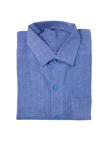 Khadi Cotton Shirt - Blue (Size - 38)