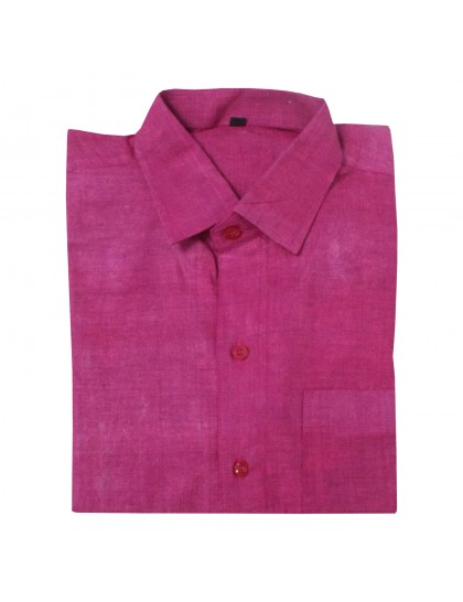 Khadi Cotton Shirt - Cherry Red  (Size-38)