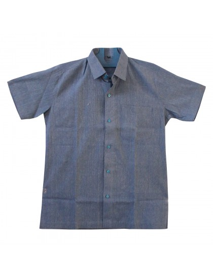 Khadi Cotton Shirt - Blue (Size - 36)